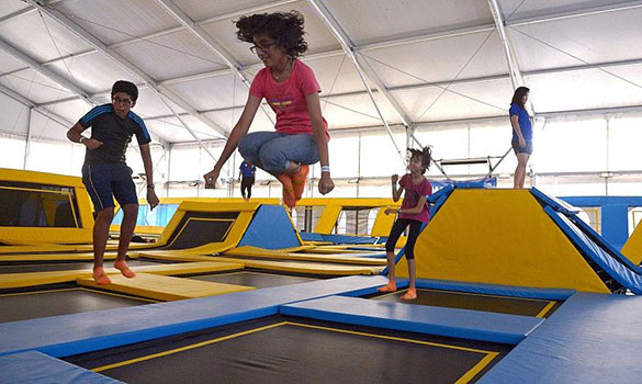 Children in a trampoline park in 2014. A KK Women's and Children's Hospital study has found that soft tissue injuries were the most common type of trampoline-related injuries, followed by fractures and dislocations. ST FILE PHOTO
