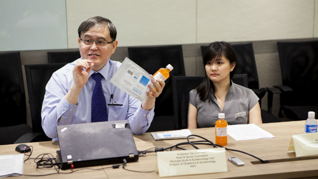 Professor Tan Kok Hian said screening is the most effective way to avoid under-diagnosing gestational diabetes mellitus, and to detect and manage it early. Pregnant women are screened with an oral glucose tolerance test using a flavoured sweet drink as shown here.