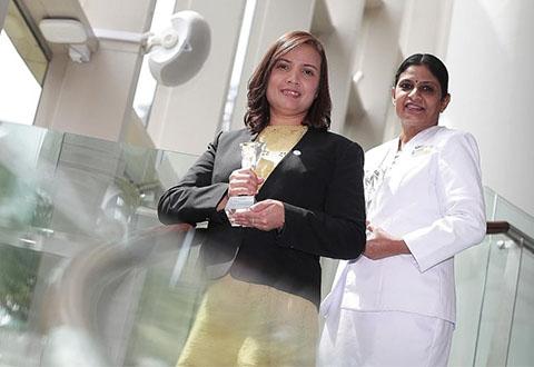 Ms Bridget Monica Das (left), was presented with the Superstar Award - ILTC Allied Health Category while Madam Sinnatamby Savithri received the Superstar Award - Nursing Category
